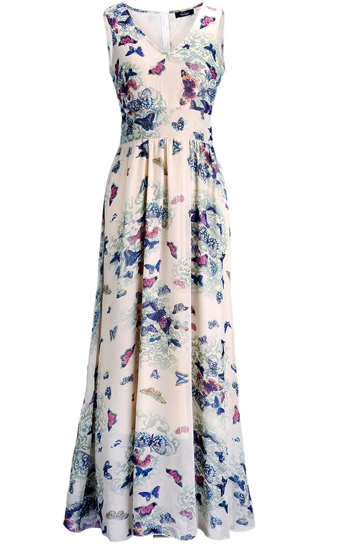 Ecowish Damen Floral Chiffon Maxi Kleider Strandkleid Lang Party Cocktailkleider V Ausschnitt Langarmes Sommerkleid mit Gürtel