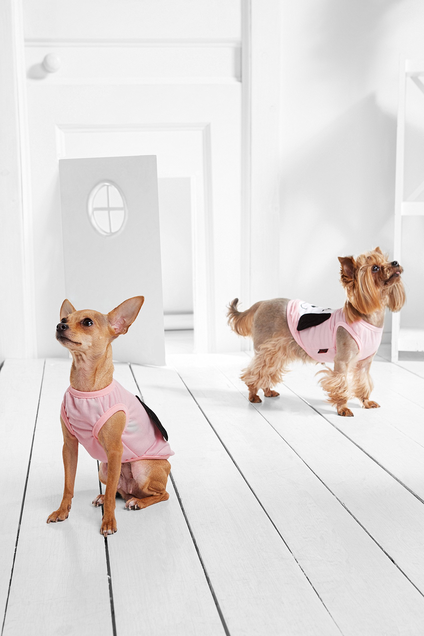 """Small Dog Shirt Tank Top Sleeveless Tee Funny Print Dogs Cotton Summer Clothes (Toy Plus: 10"""" / 5-9 lbs, Pink)"""