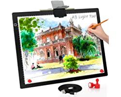 A3 Light Board, Light Pad for Diamond Painting, Comzler 6 Levels&Stepless Dimmable Light Box for Tracing, Ultra-Thin LED Copy