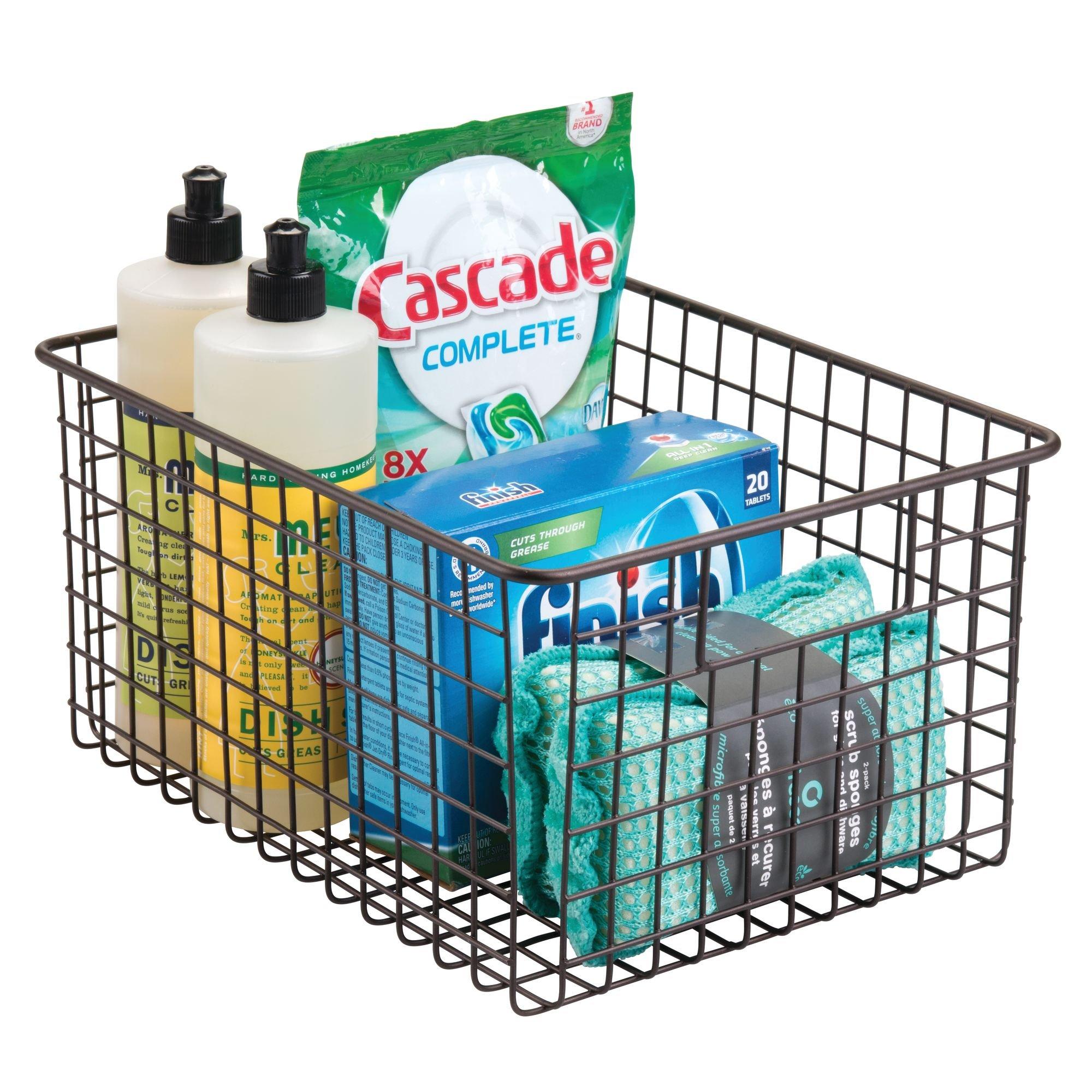 mDesign Kitchen Pantry Bathroom Office Garage Freezer Food Shelf Storage Organizer Heavy Duty Metal Wire Mesh Bins Baskets with Handles, 12'' x 9'' x 6'' - Set of 2, Bronze by mDesign (Image #3)