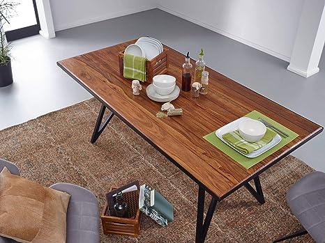 K/üchentisch Loft Massiv FineBuy Esstisch Sheesham Massivholz//Metall Esszimmertisch 180x77,5x90 cm Holztisch mit Metallgestell Schwarz