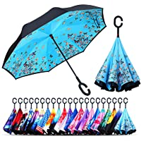 Zurato Inverted Umbrella, The Best Reverse Windproof Umbrella Inside Out Umbrella with C-Shaped Hands Free Handle for Women and Men - Multi Design & Color