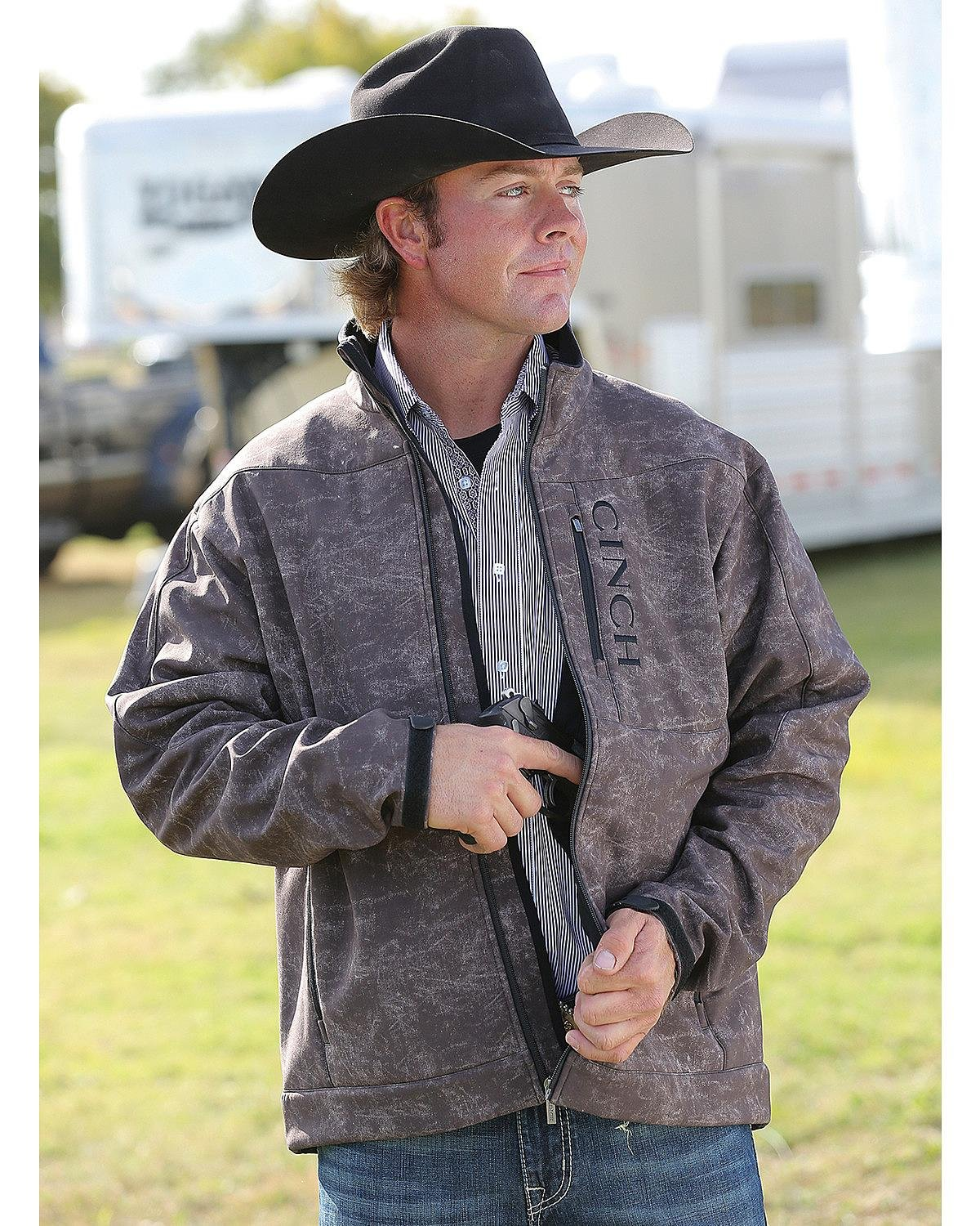 Cinch Men's Bonded Softshell Jacket With Concealed Carry Pockets, Marled Brown, Medium by Cinch (Image #1)