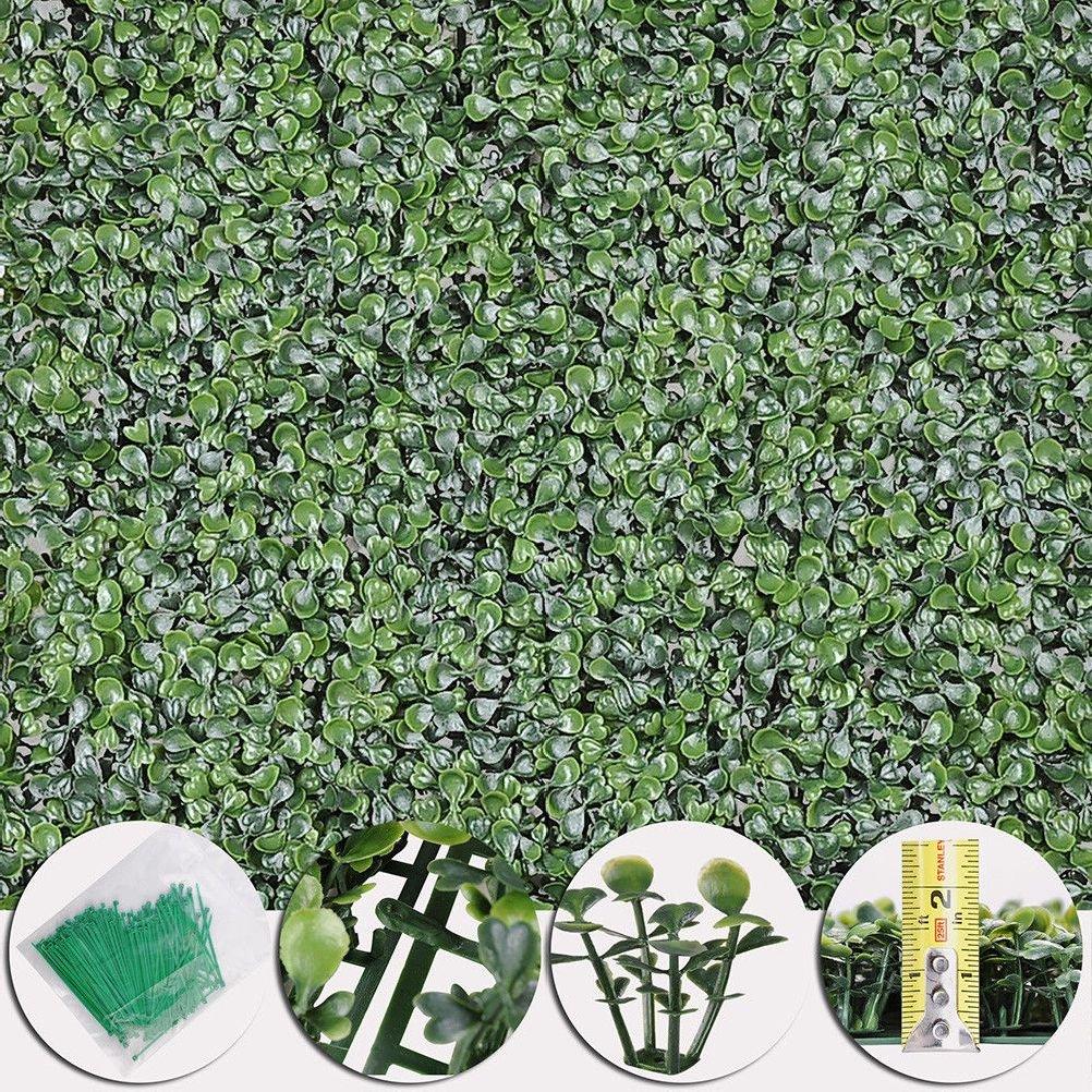 Beth Home 12pcs Artificial UV Boxwood Mat Wall Hedge Decor w/Ties Grass Fake Fence 20x20