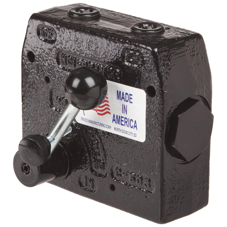 Prince Manufacturing RD-112-30 Pressure Compensated Adjustable Flow Control Valve, 0-30 GPM Range, 12 Port, Gloss Black