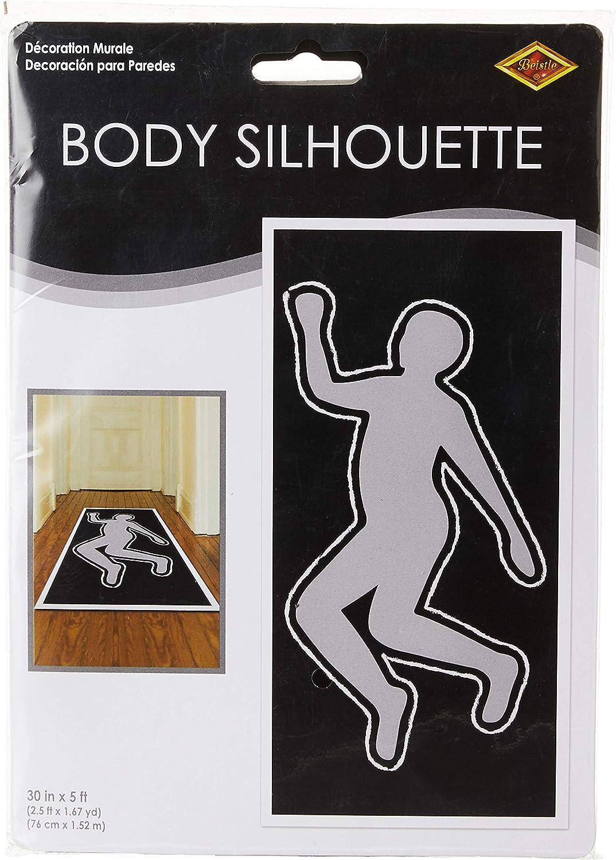 Beistle PSI Body Silhouette, 30 by 5-Feet,White/Black/Silver