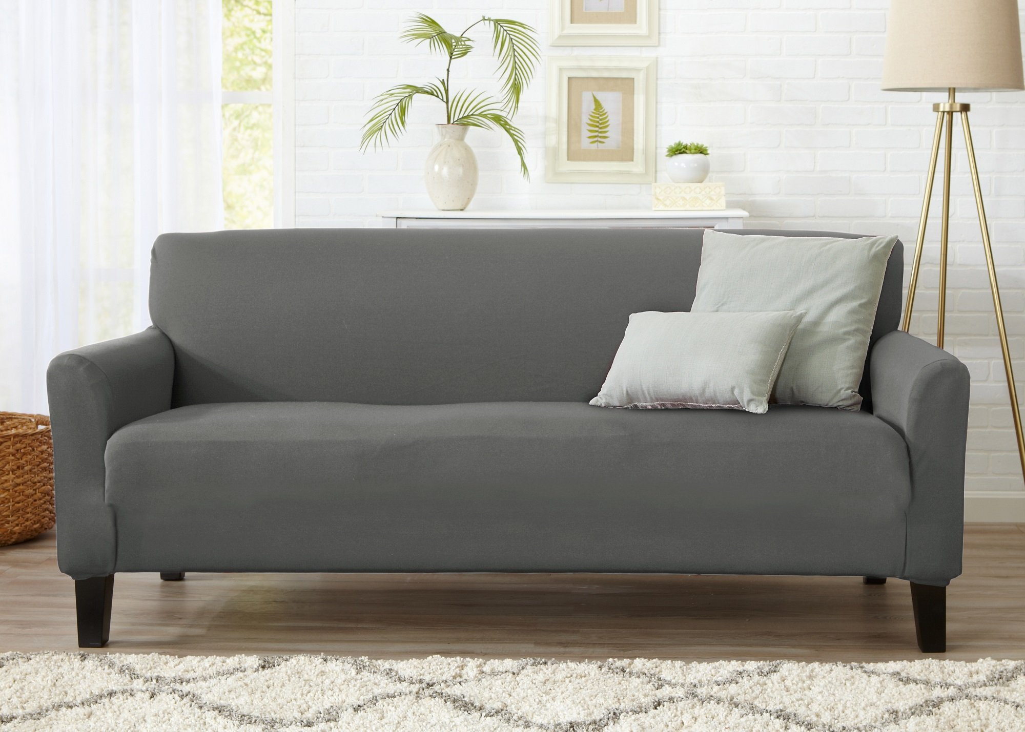 Home Fashion Designs Form Fit, Slip Resistant, Stylish Furniture Cover/Protector Featuring Lightweight Stretch Twill Fabric. Brenna Collection Strapless Slipcover. By Brand. (Sofa, Charcoal - Solid) by Home Fashion Designs