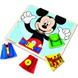 Melissa & Doug Mickey Mouse Clubhouse Wooden Basic Skills Board - Zip, Lace, Tie, Buckle, Button, and Snap