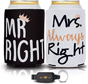 Mr and Mrs Wedding Gifts for Couples - Unique Couples Gifts, Beverage Can Coolers & Heart Bottle Opener - Engagement & Anniversary Gifts for Couples, Insulated Drink Holder for Him & Her, 2 Pack