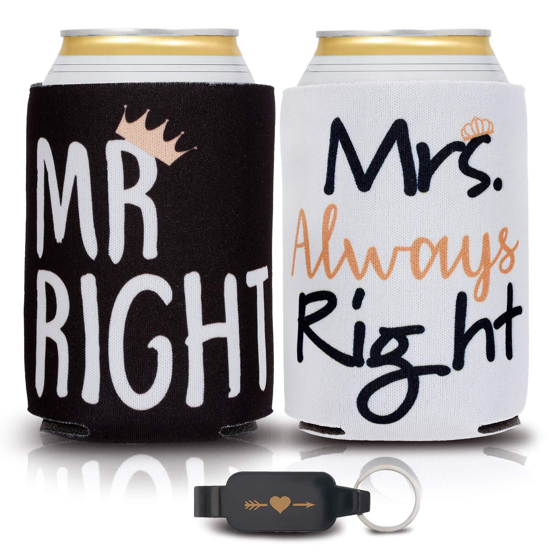 カップル向けウェディングギフト ユニーク – 2個パック カップルのギフト 缶クーラー ハート型栓抜き – カップルへの婚約ギフト カップルへの記念日ギフト 男性と女性のためのギフトビール缶スリーブ   B07QX99H18