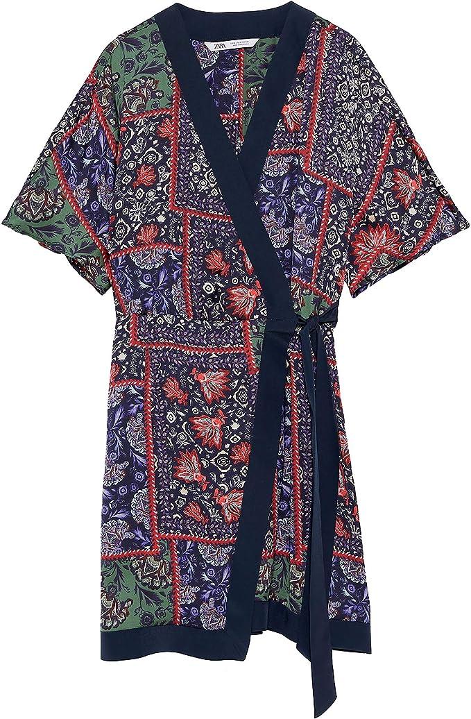 Zara 7612/102 - Vestido Estampado con Lazo para Mujer Large ...