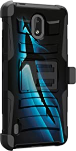 MINITURTLE Compatible with Nokia 3.1, Nokia 3.1 A, Nokia 3.1 C Rugged Dual Layer Armor Holster Belt Clip Shockproof Case Cover [Clip Armor] - Blue Sharks