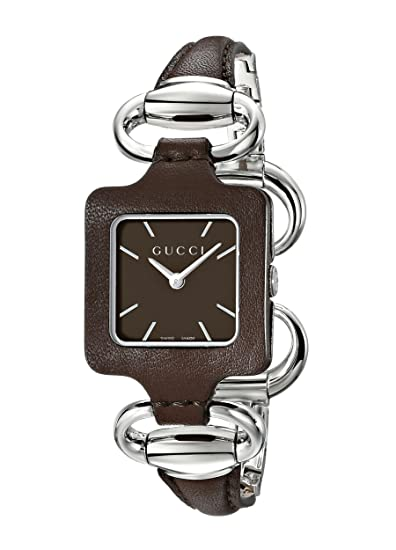 824a3f14eff Gucci Women s YA130403 Gucci 1921 Brown Leather Bangle and Case Watch   Amazon.ca  Watches