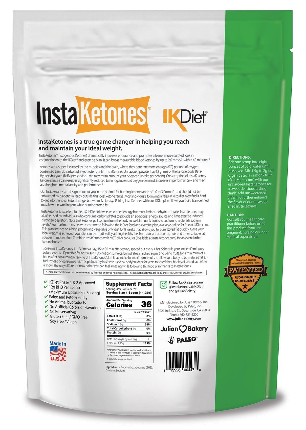 InstaKetones® 12g GoBHB® +Calcium Per Scoop (Unflavored) (90 Servings) Exogenous Ketones (2.83 lbs) by Julian Bakery (Image #2)
