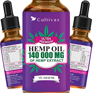 Hemp Oil 140 000 mg for Pain Relief, Relaxation, Better Sleep, All Natural, Pure Extract, Vegan Friendly