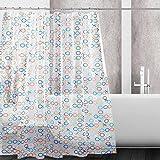 Kilokelvin PEVA Shower Curtain Mildew Resistant Waterproof Water-Repellent Antibacterial with 12 Metal Rings, 72x72 Inches- XO Circle