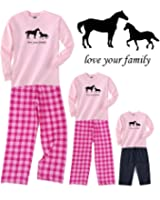 Horses Love Your Family Mother Daughter Pink Pajamas for Adults & Kids Playwear