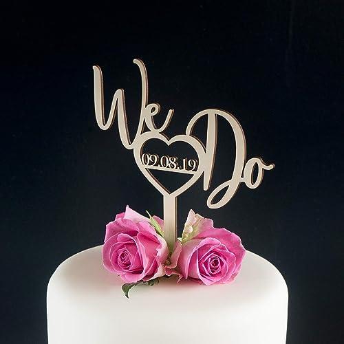 Calligraphy Wedding Cake Topper Personalise We Do Engagement Bridal Shower Cake Decoration Amazon Co Uk Handmade