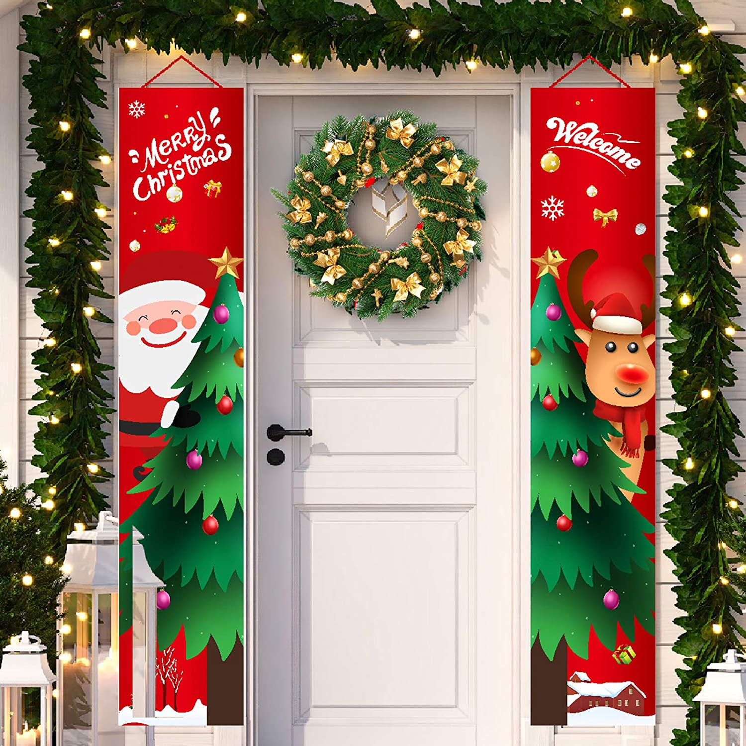 Merry Christmas Banners New Year Outdoor Indoor Christmas Decorations front Decor Decor Elk Santa Claus Bright Red Xmas Porch Sign Hanging for Home Wall Door Holiday Party Decor (Red-Christmas Banner)