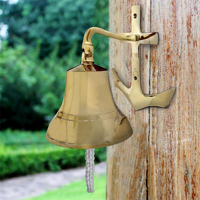Gold Benjara 7 Inch Brass Ship Bell Wall Decor with Anchor Bracket Design