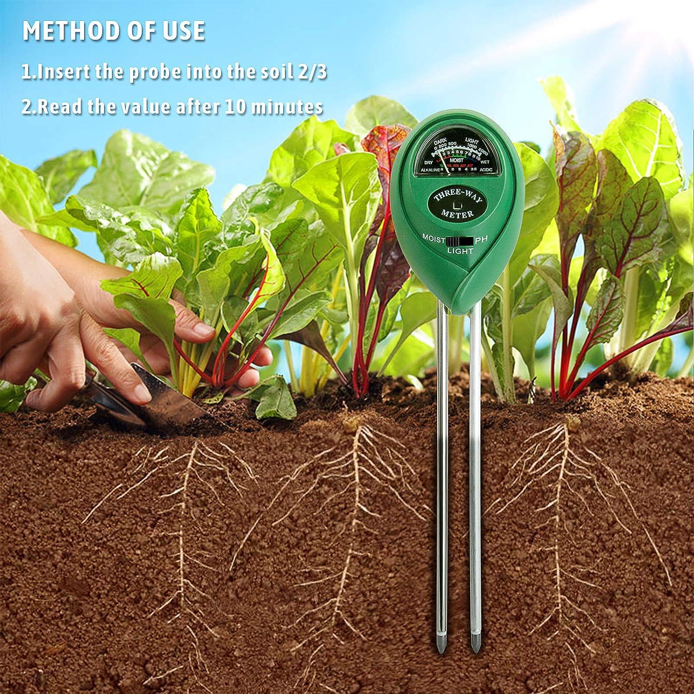 und Lichtintensit/äts-Bodentester-Messger/ät f/ür Garten PH Bauernhof HANGOU Bodentester Pflanzentester 3 in 1 Bodentester-Werkzeug mit Feuchtigkeits-