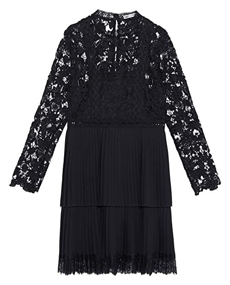2c3f42a0 Zara Women's Contrasting Pleated Dress 8741/035 Black: Amazon.co.uk ...
