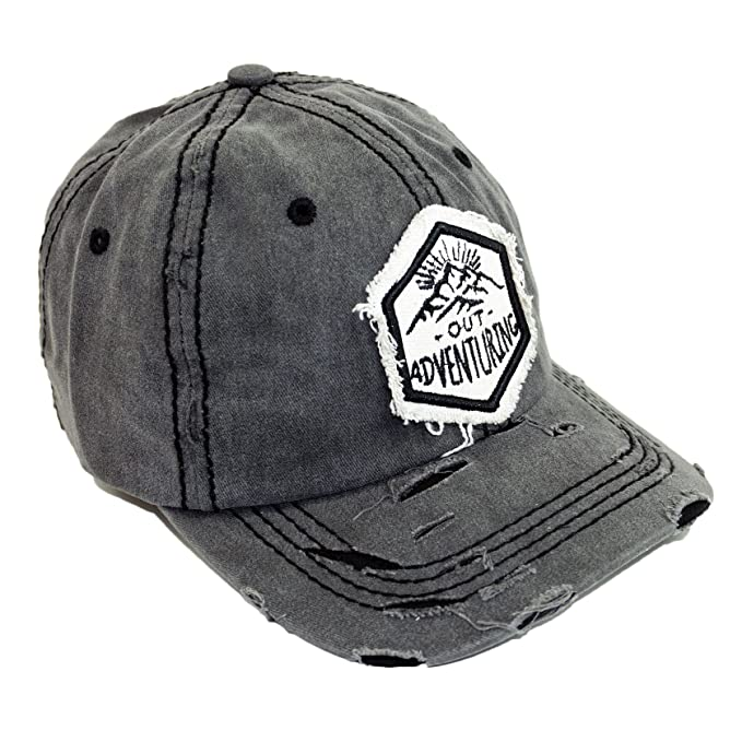 7b355e5a4ee Out Adventure Embroidery Vintage Hat Adjustable Mountin Patch Baseball Cap ( Black)