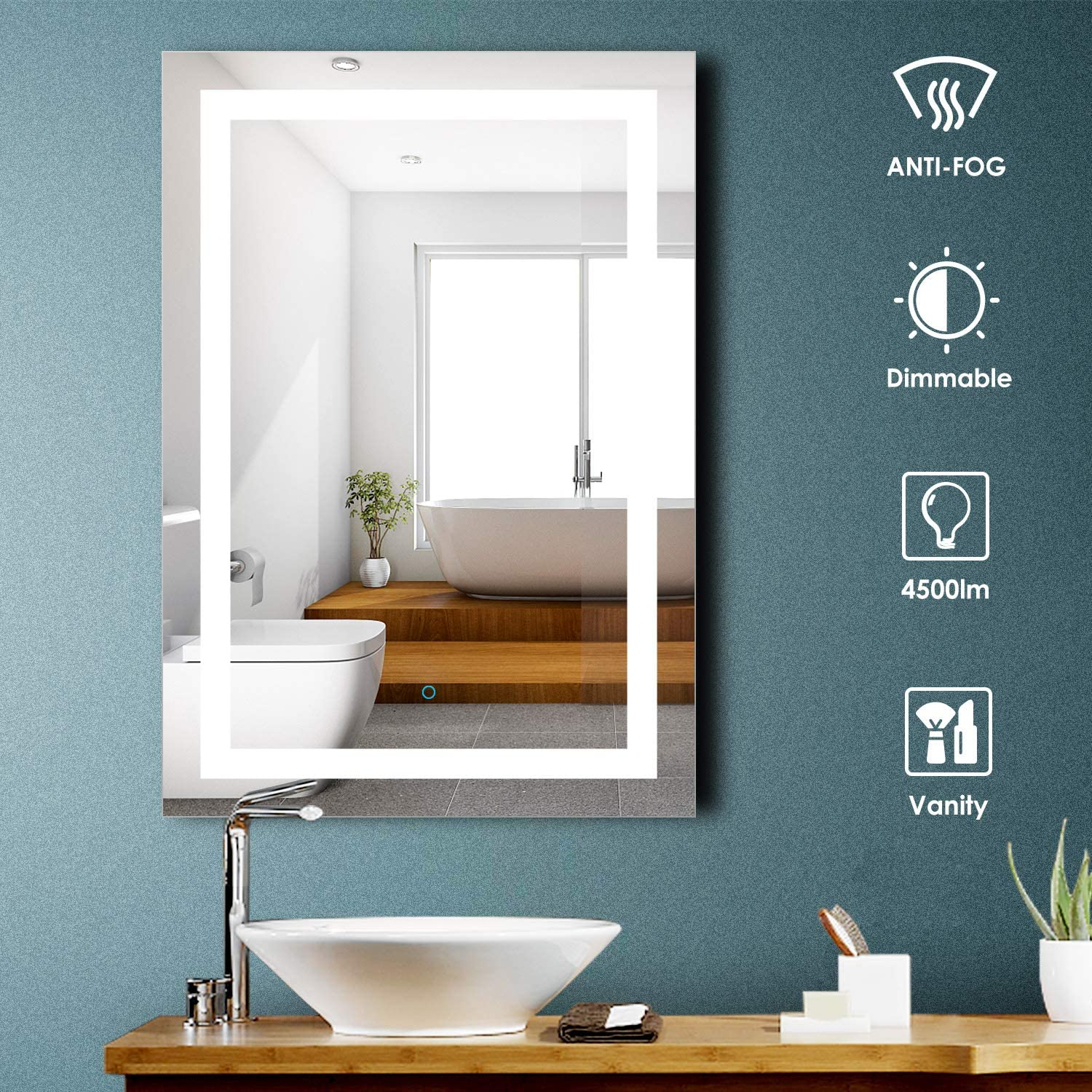 Amazon Com Aoorify 28 X 40 Inch Led Lighted Bathroom Mirror Wall Mounted Vanity Mirror With Light 5000k Daylight Dimmable Touch Switch Control Memory Touch Button Kitchen Dining