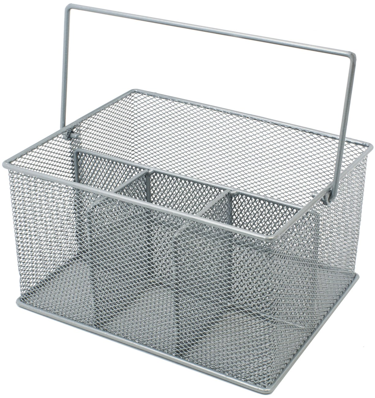 Sorbus Utensil Caddy — Silverware, Napkin Holder, and Condiment Organizer — Multi-Purpose Steel Mesh Caddy—Ideal for Kitchen, Dining, Entertaining, Tailgating, Picnics, and Much More (Silver)