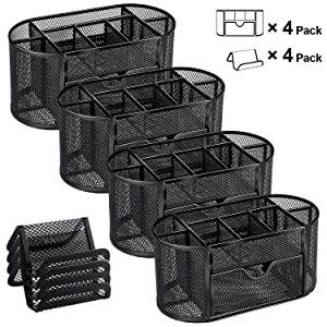 MaxGear Mesh Desk Organizers with Drawer, Office Desk Organizer Metal Pen Holder Pencil Organizer for Desktop Black Pencil Cup Storage Caddy, 9 Compartments, 4 Pack