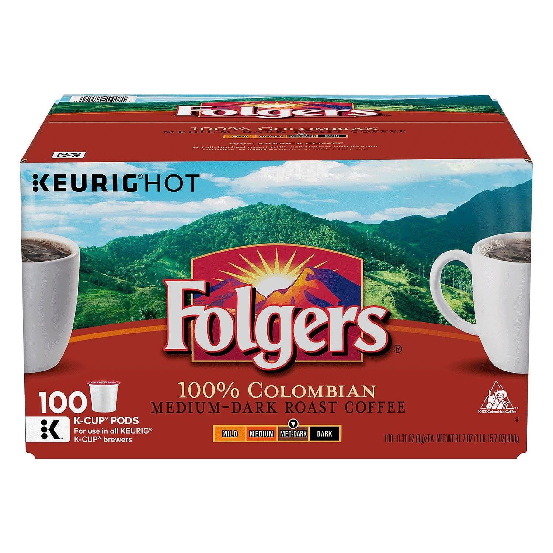 Folgers 100% Colombian Medium Dark Roast Coffee 200 K-Cups Ticx( Pack of 2 )