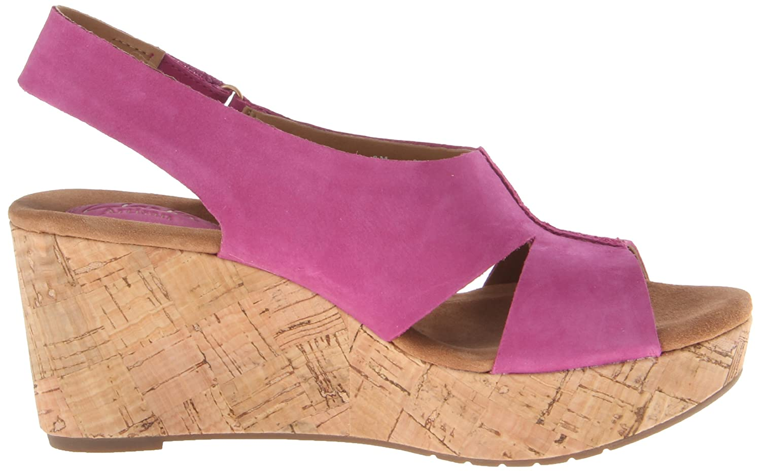 Amazon.com | Clarks Women's Caslynn Lizzie Wedge Sandal, Fuschia, 6.5 W US  | Platforms & Wedges