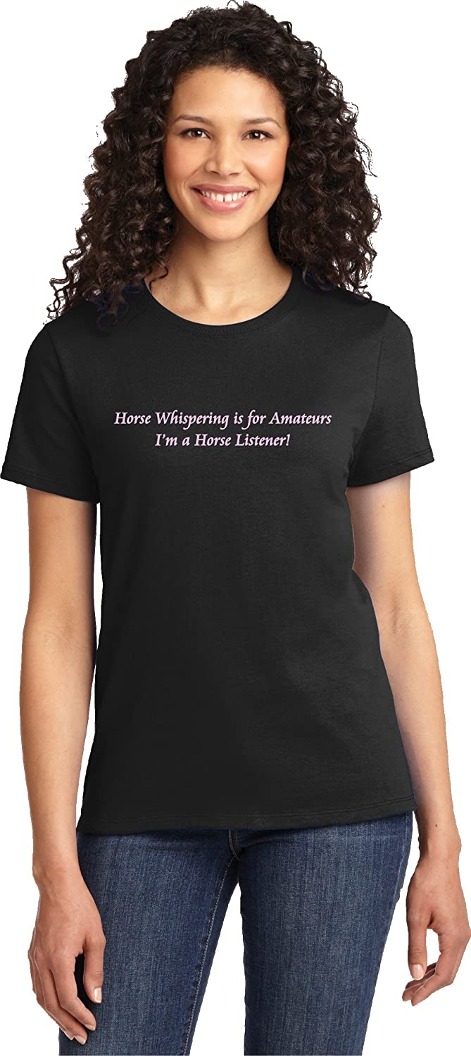 Amazon Com Horse Whispering Is For Amateurs Ladies Equestrian Black T Shirt Clothing