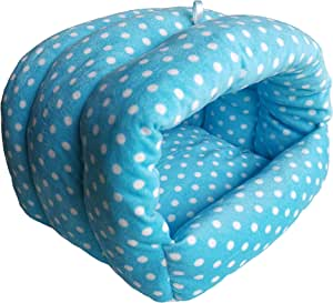 WOWOWMEOW Guinea-Pigs Bed,Hamster Bed,Small Animals Warm Hanging Cage Cave Bed (M, Dot-Blue/White)