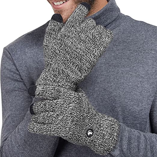 4dd971c85 LETHMIK Mix Knit Winter Gloves Mens Touchscreen Warm Texting Gloves with  Wool Lining Black