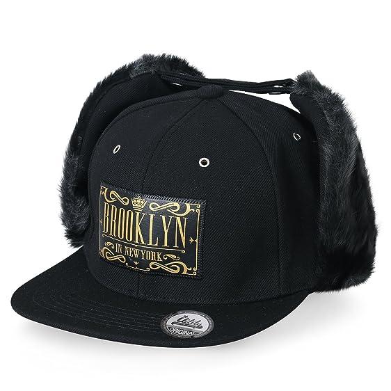 c8056a336a3 ... ililily Letter Patch Baseball Cap Faux Fur Snap EarFlaps Flat Bill  Snapback Hat