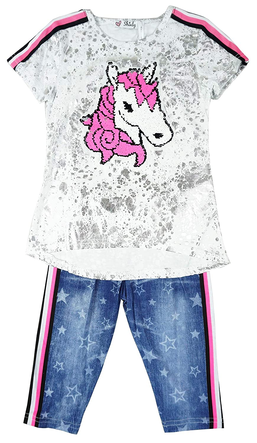 Girls Sequin Unicorn Horse Foil T-Shirt Top /& Jeggings Leggings Set Sizes from 3 to 12 Years