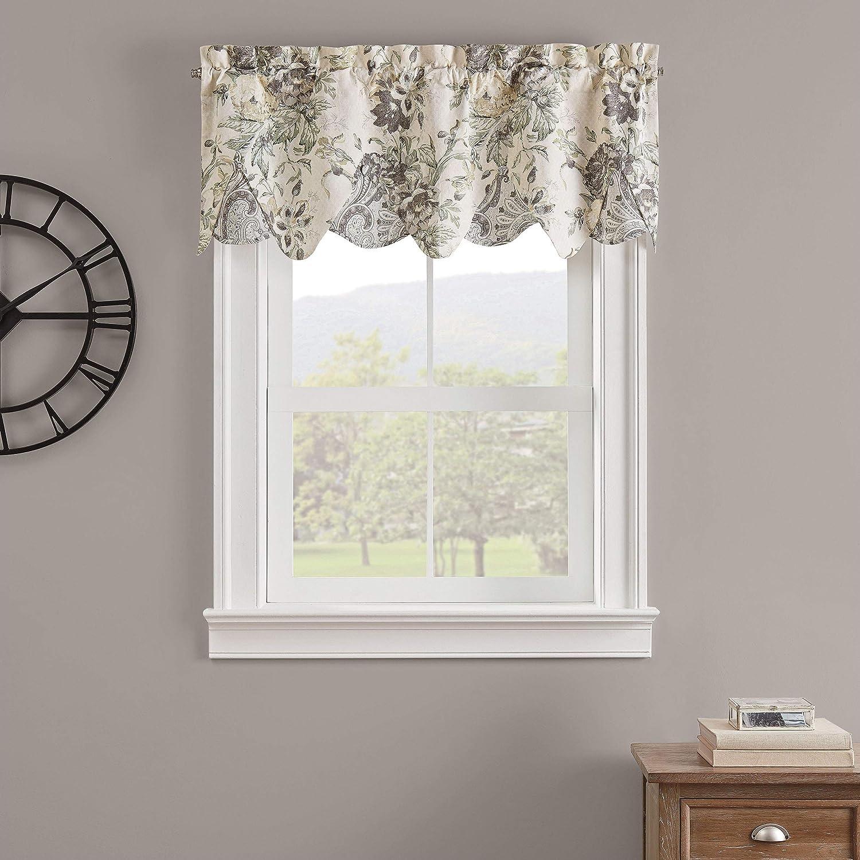 Amazon Com Waverly Kensington Bloom Short Valance Small Window Curtains Bathroom Living Room And Kitchens 52 X 18 Grey Home Kitchen