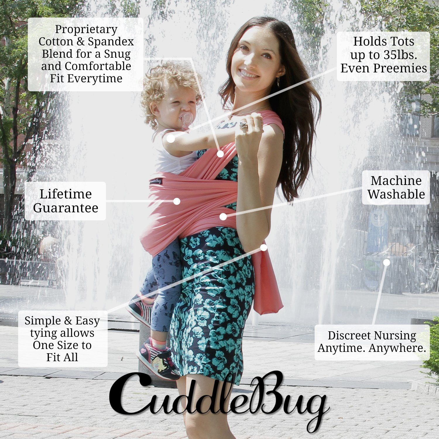 Baby Wrap Ergo Carrier Sling By Cuddlebug Available In 8 Colors