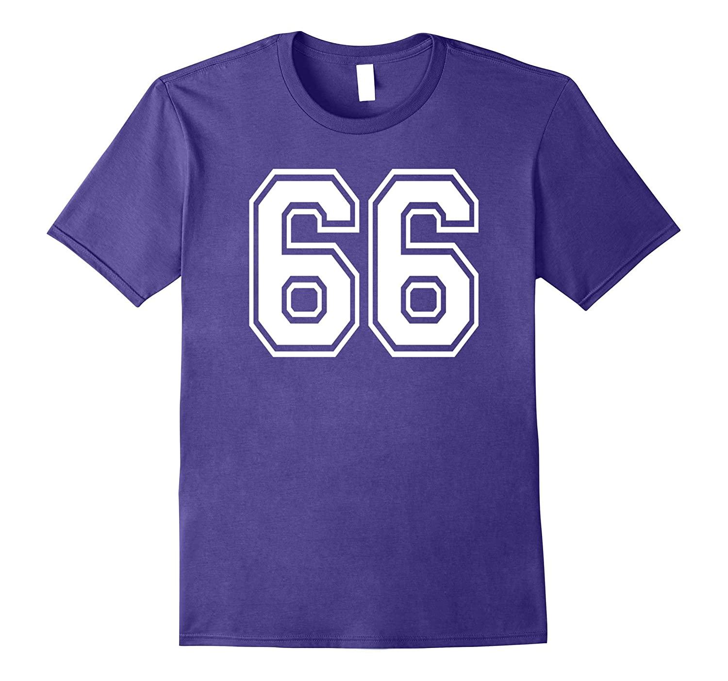 #66 Numbered College Sports Team T-Shirts front and back-FL