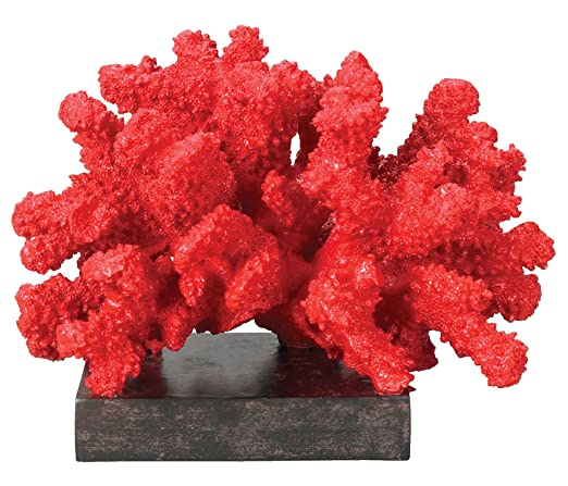 Christmas Tablescape Decor - Composite Fire Island red coral statue with brown base display