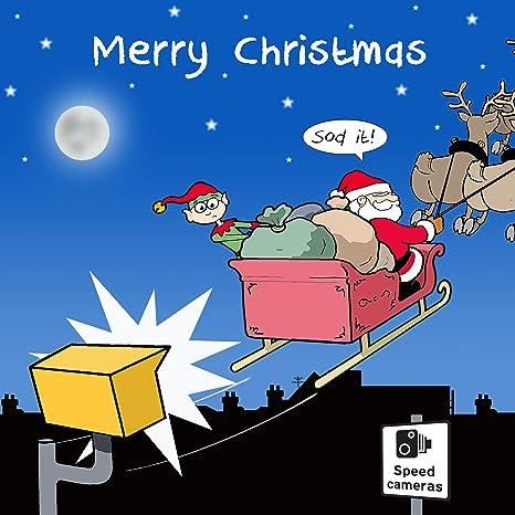 Biglietti Di Natale Divertenti.Twizler Buon Natale Con Babbo Natale Elfo Renna E Velocita