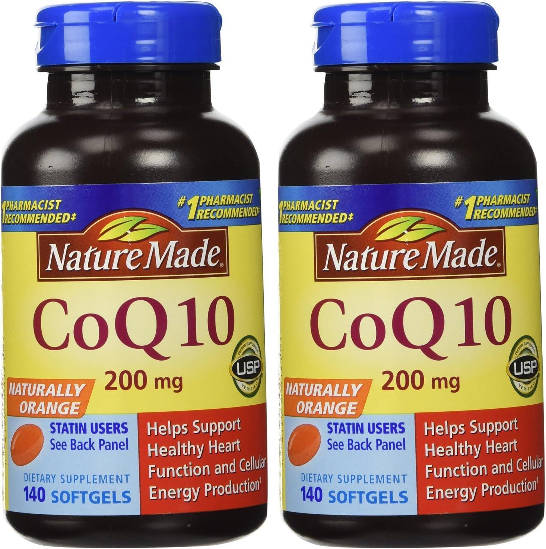 Nature Made, Naturally szmVN Orange CoQ 10 200 mg 140 Softgels (Pack of 2) NJplp