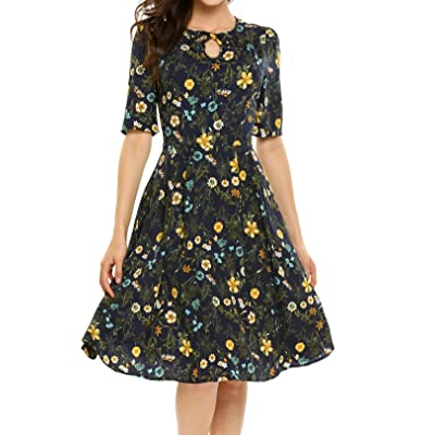 ACEVOG Women's Casual Long Sleeve Floral Printed Fit and Flare Party Dress