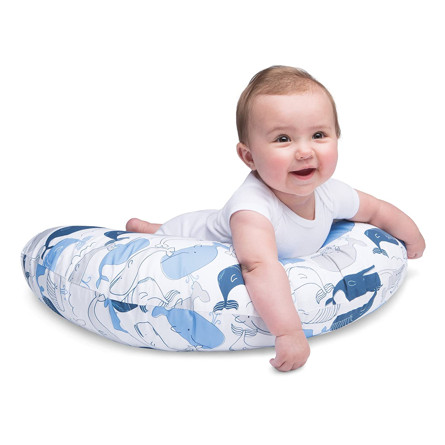 Blue Boppy Nursing Pillow and Positioner Big Whales