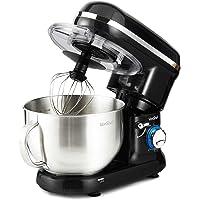 VonShef 800-1260W Robot de cuisine à pétrir silencieux et silencieux avec protection anti-éclaboussures et fouet et