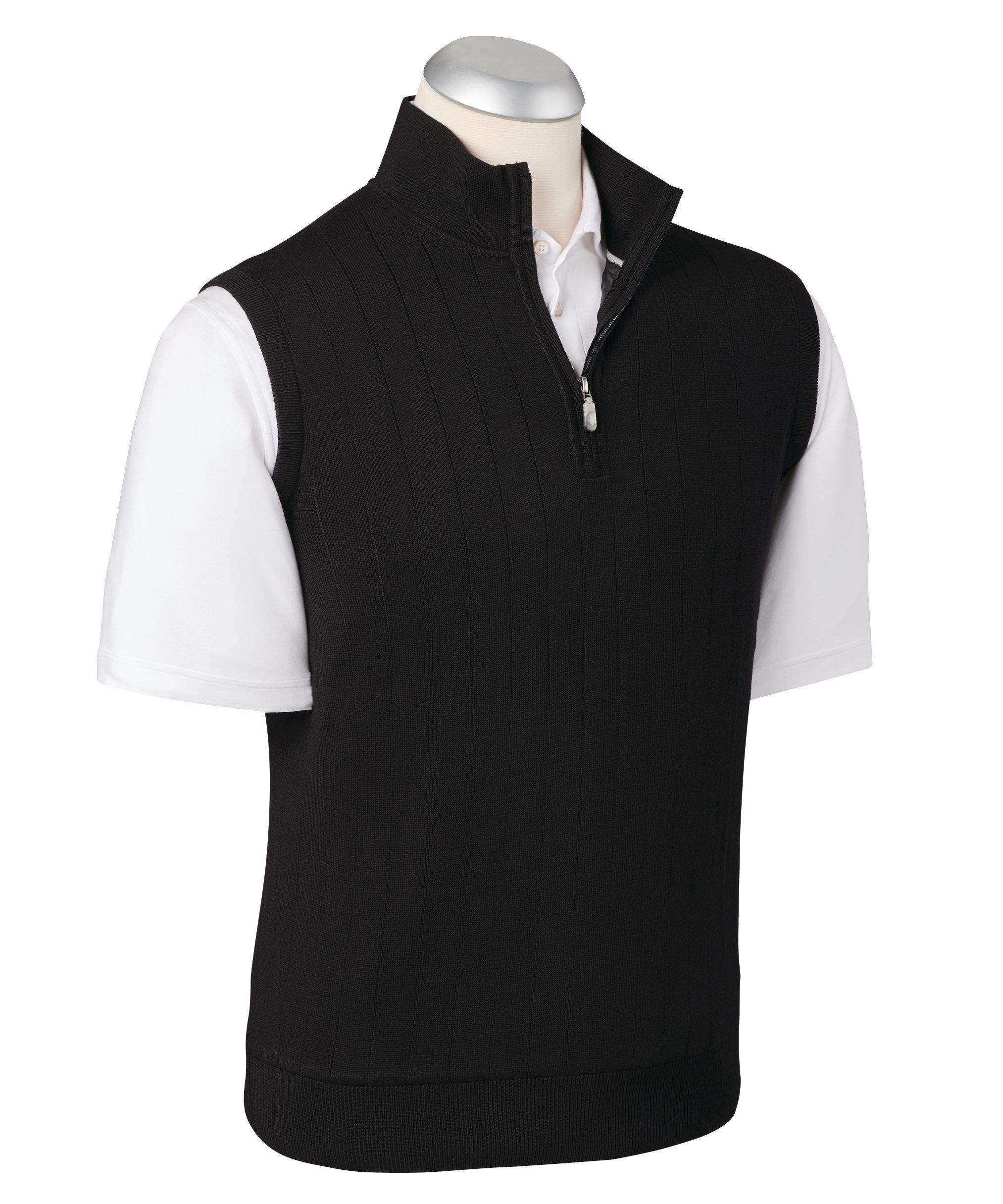 Lux Pima Leaderboard 1/4 Zip Vest Black by Bobby Jones