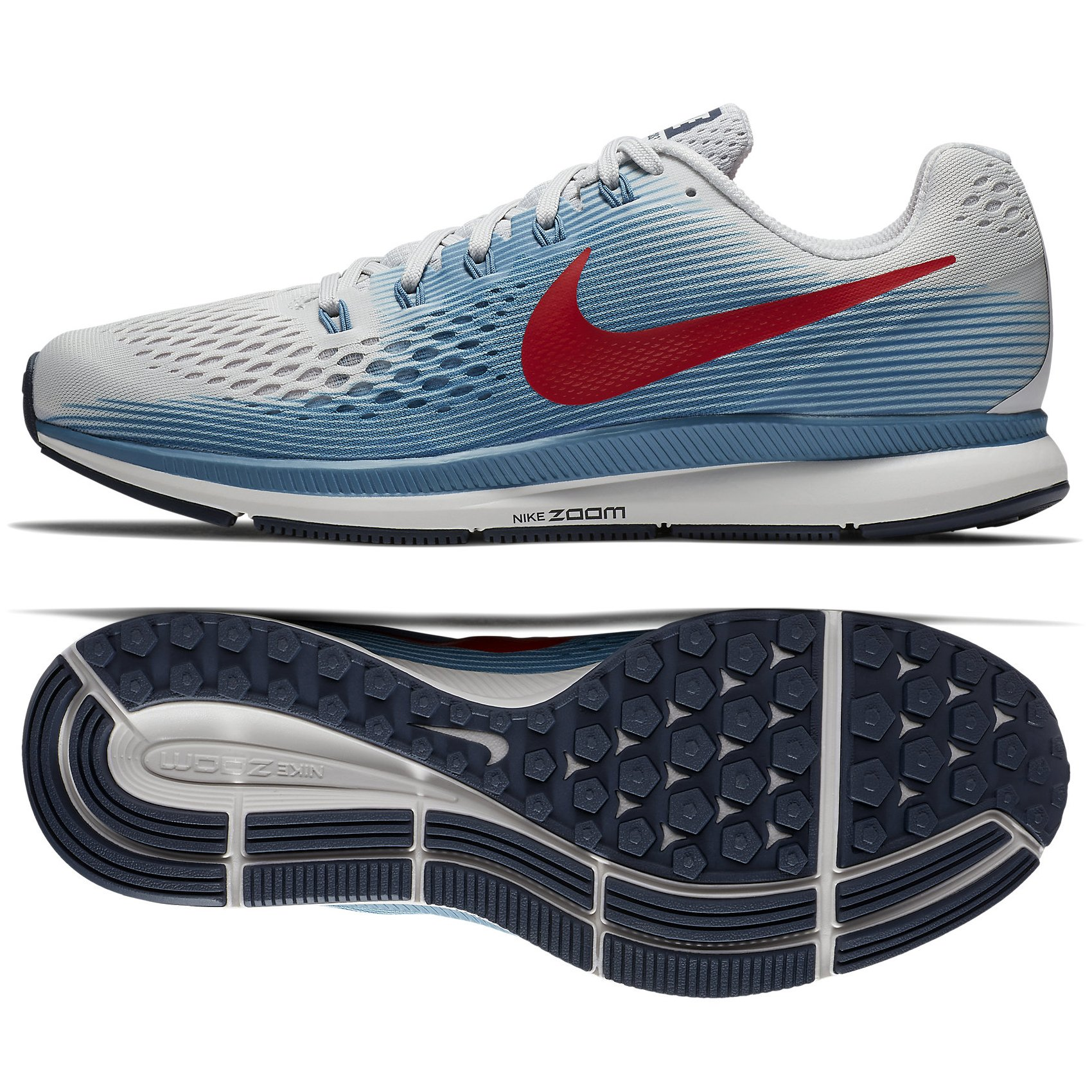 b460627a618f Galleon - NIKE Air Zoom Pegasus 34 880555-016 Vast Grey Storm Blue Red Men s  Running Shoes (12.5)