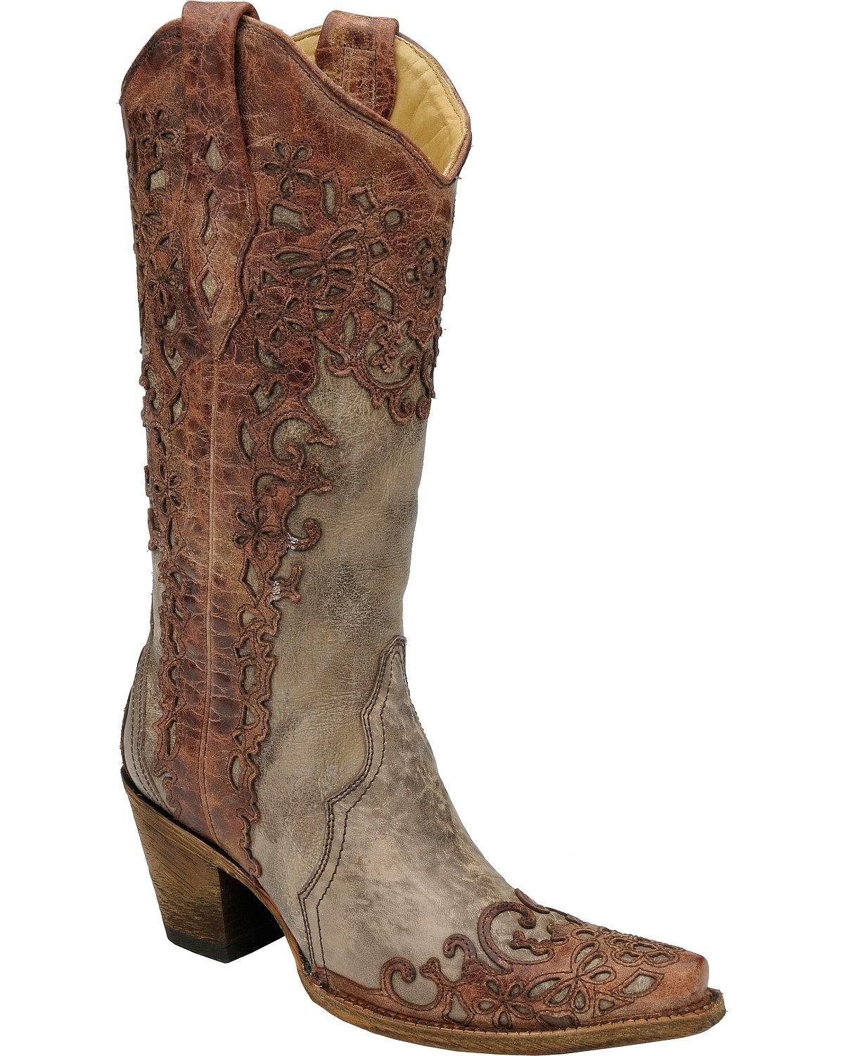 Corral Women's Sand and Cognac Laser Overlay Cowgirl Western Boot B01FQXWC5Q 8.5 B(M) US|Sand