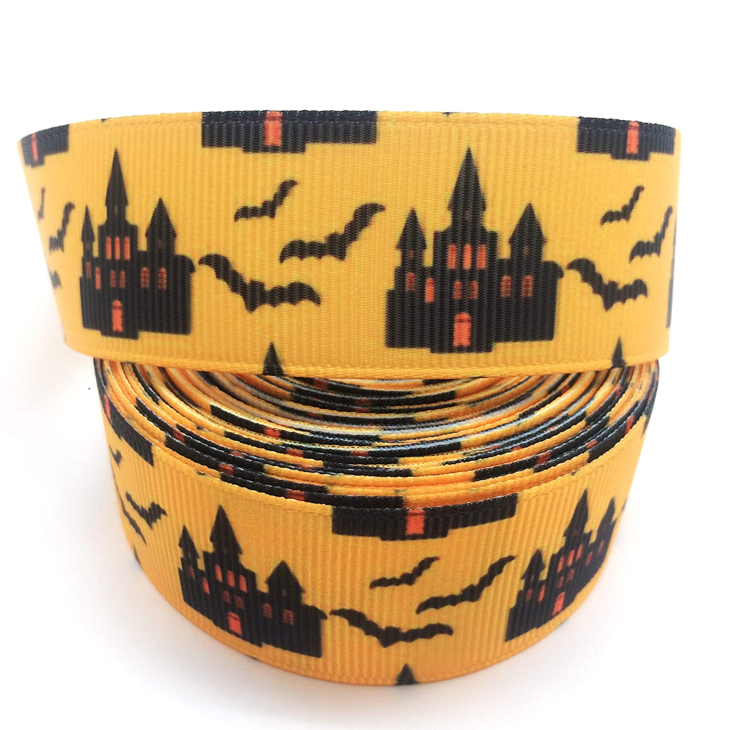 PEPPERLONELY Brand 10 Yards 22mm (7/8 Inch) Halloween Skull & Ghost Printed Grosgrain Ribbon BCACS22380